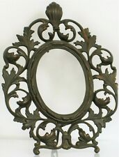 ANTIQUE BEAUTIFUL HEAVY ART NOUVEAU BRONZE PICTURE FRAME ORNATE DETAILS SHELL !