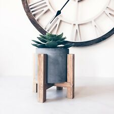 Concrete Planter On Wooden Stand