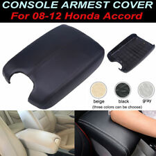 Black Leather Console Lid Armrest Cover For Honda Accord 2008-2009 2010 2011 12