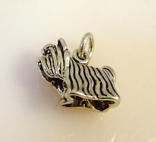 .925 Sterling Silver 3-D YORKSHIRE TERRIER CHARM NEW Pendant Dog Breed 925 DG16