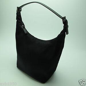 Vtg Authentic Coach Black Nylon Fabric Hobo Handbag Leather Strap & Side Trim