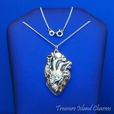 """ANATOMICAL HUMAN HEART LOCKET PENDANT .925 Sterling Silver Necklace 16"""" or 18"""""""