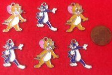 Nuevo en-Juego de 6 x Tom y Jerry Metal Esmalte encantos para Colgantes Pulsera (T1.1)