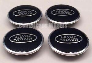 "(4x) NEW Land Rover Range Rover 2.5"" POLISHED BLACK Center Caps 63mm Hub Caps"