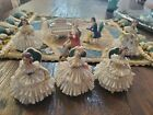 Friedrech Henseler  Set Of 8 Victorian Parlor Ceramic Lace Figurines