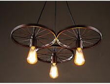 Rustic Industrial Edison Chandelier ~ 3 Round Wheels ~ Antiqued Bronze Finish