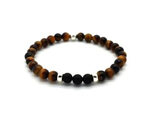 Mens Bead Bracelet Tiger's Eye and Onyx with 925 Sterling Silver Beads Handmade
