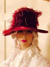 Flapper Red Silk Antique Ladies Hat Roaring 20's Cloche 1920's Velvet Ostrich