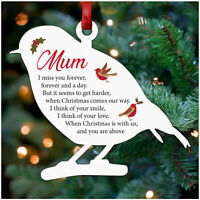 PERSONALISED Remembrance Christmas Tree Decoration Wood Robin Memorial Mum Dad
