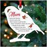 PERSONALISED Remembrance Christmas Tree Decoration Wood Robin Memorial Mum Dad