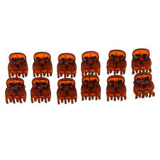 12X Lovely Brown Plastic Mini Hairpin 6 Claws Hair Clip Clamp for Ladies Newly