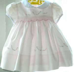 Pink Smocked Party Dress Sarah Louise 0 - 3 m Floral Romany Frock Baby Girl 62cm