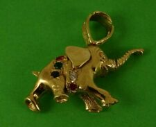Stunning Solid 9ct Gold Gemset ELEPHANT GOOD LUCK Pendant Hm 11gr 3cm 48s