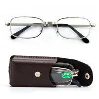 Unisex Folding Reading Glasses Oval Metal Frame Spectacles Eyeglass +1.0 ~ +3.0