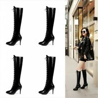 Details about  /Runway Womens Over The Knee  High Thigh Boots British Cowgirl Leather Shoes Goth