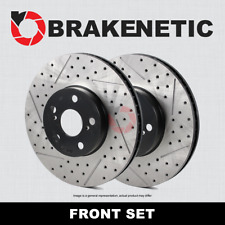 [FRONT SET] BRAKENETIC PREMIUM Drilled Slotted Brake Disc Rotors BNP35036.DS