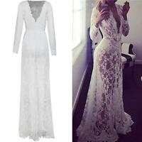 Sexy Women Lace Long Sleeve V Neck Maxi Dress Evening Cocktail Prom Party White