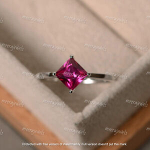 2Ct Princess Cut Red Ruby Solitaire Engagement Ring In 14K White Gold Finish