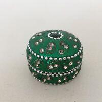 Handmade Rhinestone Beads Embellished Travel Tea Light Candle Tin Holder w/ Lid