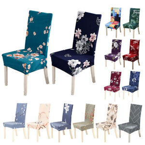1/4/6pcs Spandex Stretch Dining Room Floral Printed Chair Covers Slipcovers Home