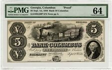 1856 Bank of Columbus Georgia Proof PMG 64 5 Dollar Note ABN Copy