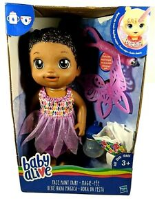 Baby Alive Fairy Doll Face Paint doll w/Wings & Wand African American*Read*