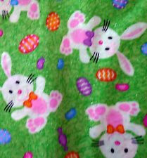 Sold by HALF-YARD cotton BRIGHT GREEN GLITTERY fabric EASTER BUNNY EGGS