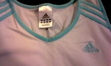 Womens Teens ADIDAS Athletic TOP Tank Cami White with blue trim RETRO S Small