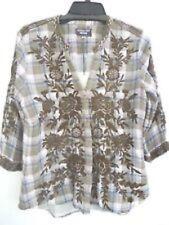 7110cd844a4 Johnny Was Workshop Plaid Cayden V neck Button Down Shirt Top New Boho  W14118