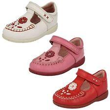 Start-rite Niña Blanco / Cuero Rojo Zapatos T-Bar LEILA