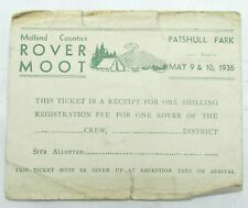 ROVER MOOT PATSHULL PARK 1936 VINTAGE RECEIPT/TICKET BOY SCOUTS WOLVERHAMPTON