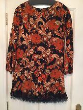 Miss Selfridge orange cream black paisley Silky  tunic dress lace trim size 10