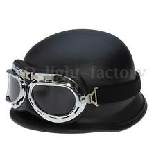 WWII Style BLACK German Motorcycle Half Helmet Chopper Biker Pilot Goggles NEW