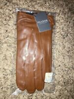 New Men's JOS. A. BANK LEATHER GLOVES Brown SIZE XL TECH-TOUCH Fleece Lined Warm