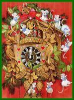 Set of TWO Cuckoo Clock Christmas Mice 5x7 Handmade Craft & Quilt Fabric Blocks