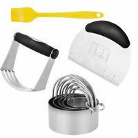 8Pcs Dough Pastry Scraper/Cutter/Chopper Stainless Steel Measure Scale Set Bread