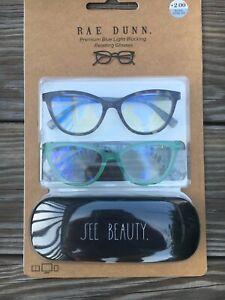 RAE DUNN NEW 2 pairs Premium Blue Light Blocking Reading Glasses +2.00 w/case