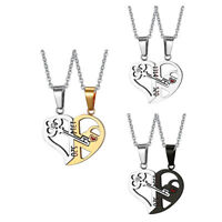 Love His and Her Heart Key Matching Puzzle Stainless Steel Couples Necklace