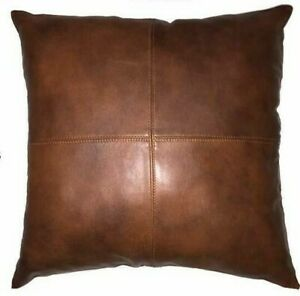 100% Lambskin Leather Premium Cushion Pillow Cover Bed Sofa Decorative Brown
