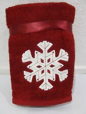 Christmas Red White Snowflake Hand Towels Set of 2