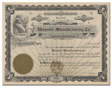 Wayside Manufacturing Company Stock Certificate (Massachusetts)
