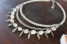 Gorgeous Handmade 3 Layer White Turquoise  & Silver Leaf Bead Charm Necklace