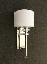 Polished Nickel Modern Wall Sconce Light with Wrap Around Shade/Crystal Accents