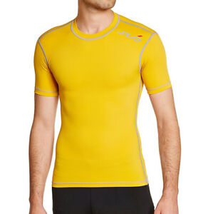 Sub Sports Mens Compression Top Yellow Midweight Short Sleeve Baselayer M 2XL