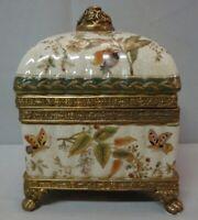 Boite Bijoux Tabac Papillon Style Art Deco Style Art Nouveau Porcelaine Bronze