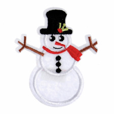 Snowman Christmas Craft Motif - Iron & Sew On Festive Applique - Xmas Patch