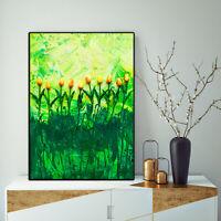 Modern painting original abstract acrylic canvas Yellow Green 3d Wall Art Flower