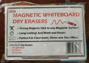"12pc 2""x2"" Magnetic Whiteboard Dry Erase Erasers in Orange, Blue, & Green"