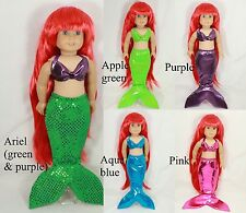 """Mermaid tail costume fits 18"""" American Girl Ariel colors doll clothes Pinkismart"""