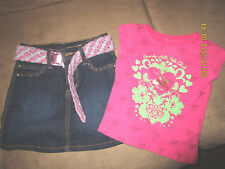 2 BE REAL denim skirt and BEVERLY HILLS POLO CLUB pink top in size 4T